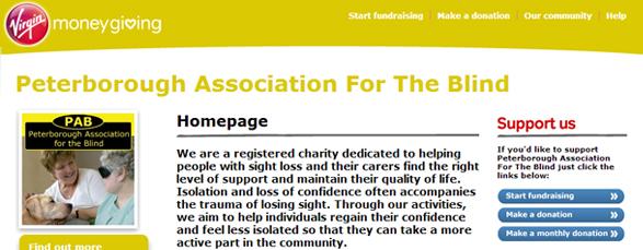 Virgin Money Giving Pab Peterborough Association For