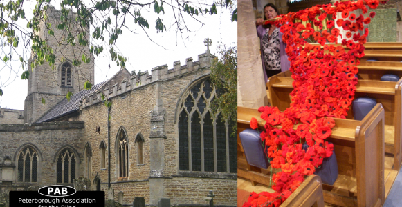 Image is of The Holy Trinity Church in Orton Longueville alongside an image of hand knitted poppies cascading over the church pews inside.